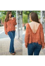 Tops 66 Chenille Cool Down Distressed Spice Sweater
