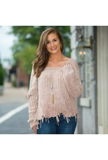 Tops 66 Chenille Cool Down Distressed Beige Sweater