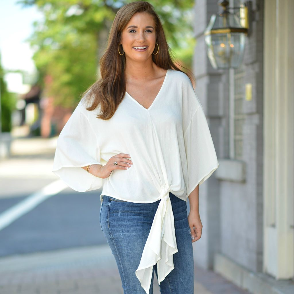 Tops 66 Trendy Tied Up Ivory Top