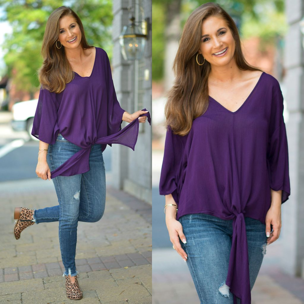 Tops 66 Trendy Tie Up Purple Top