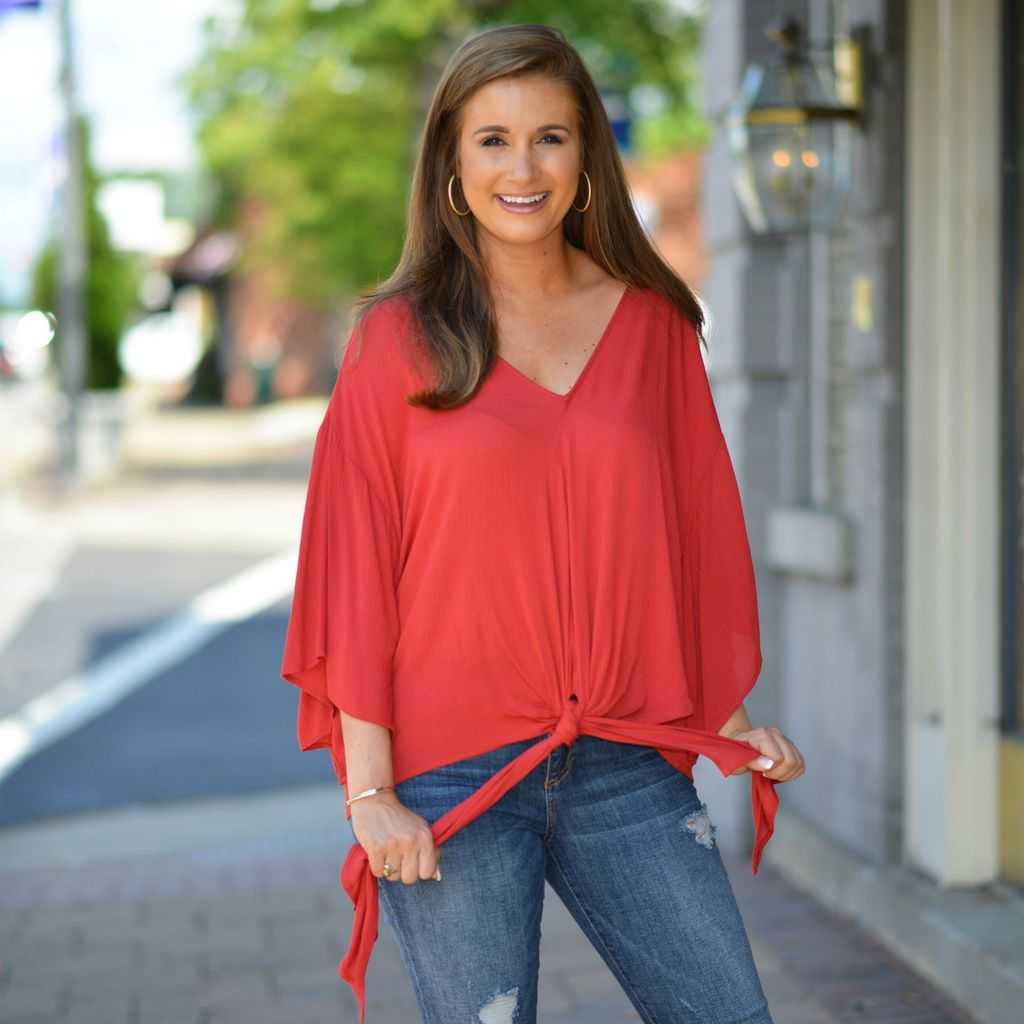 Tops 66 Trendy Tied Up Rust Top