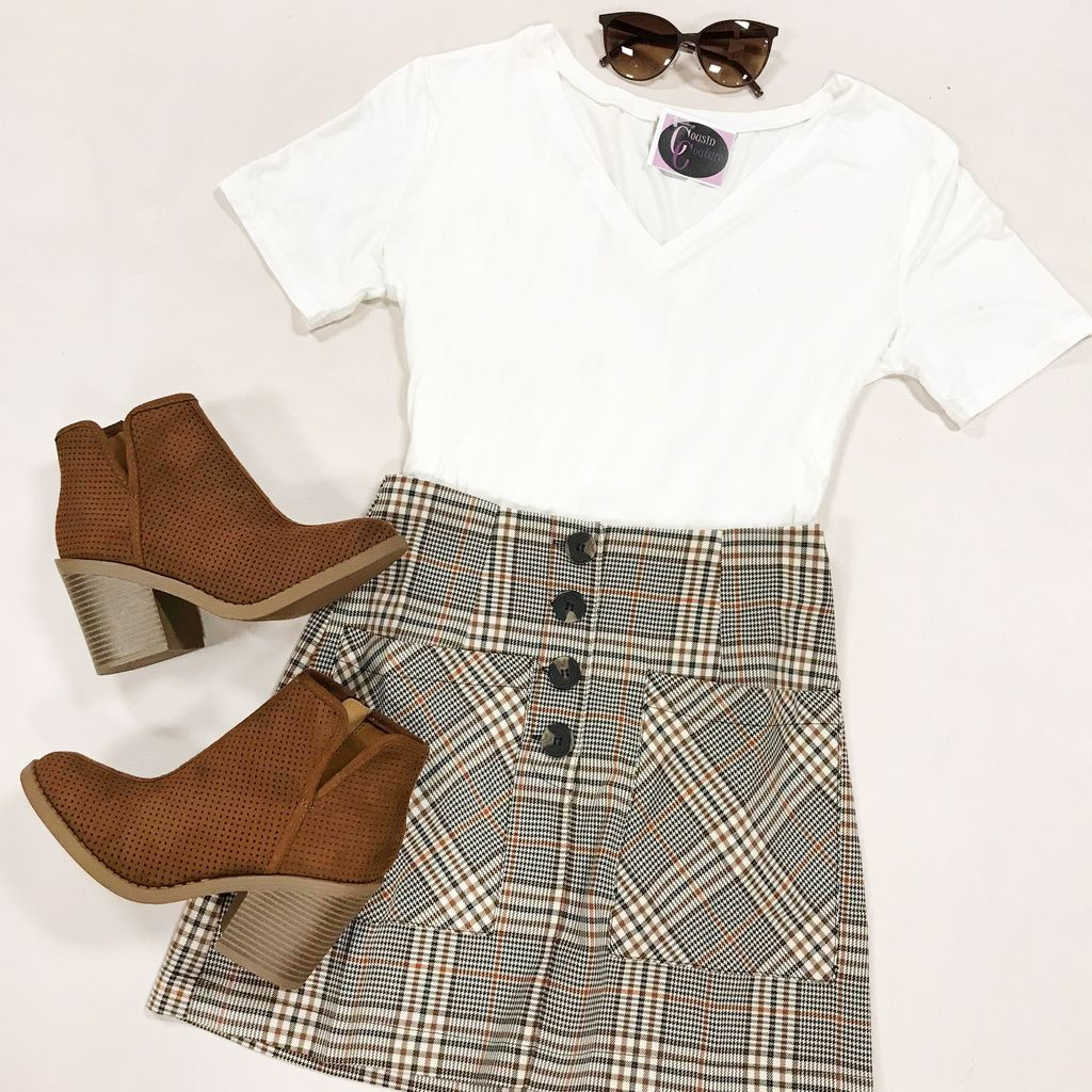 Skirts 62 For the Love of Fall Plaid Button Front Skirt