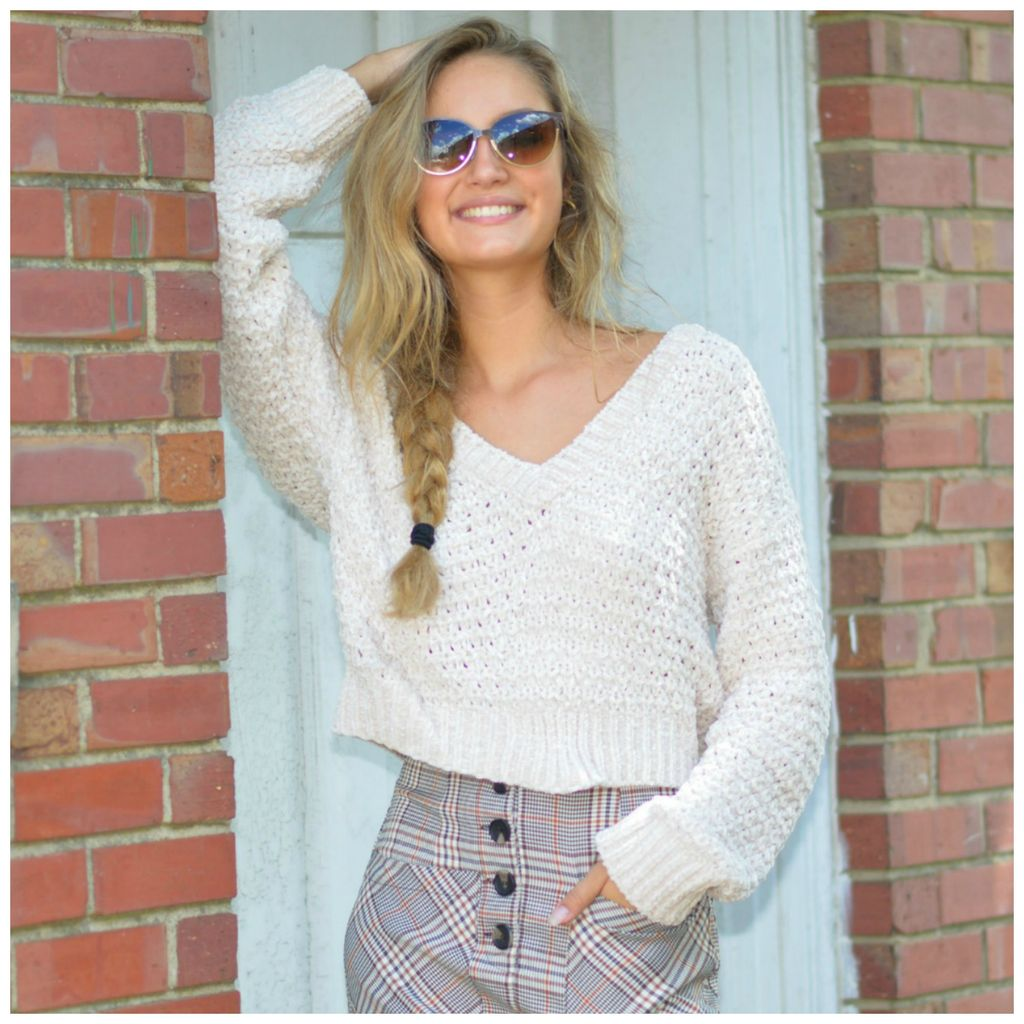 Tops 66 Fireside Ivory Cropped Chenille Sweater