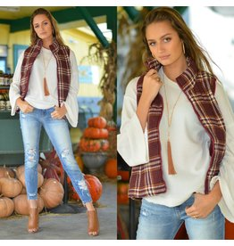 Outerwear Plaids For Fall Burgundy Vest