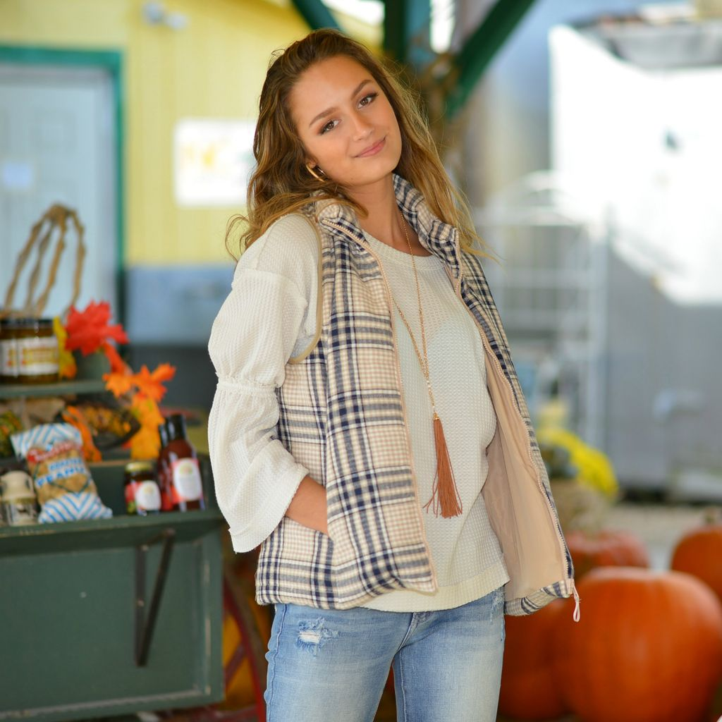 Outerwear Plaids For Fall Beige Vest