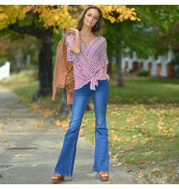 Tops 66 Fall Report Stripe Tie Front Top