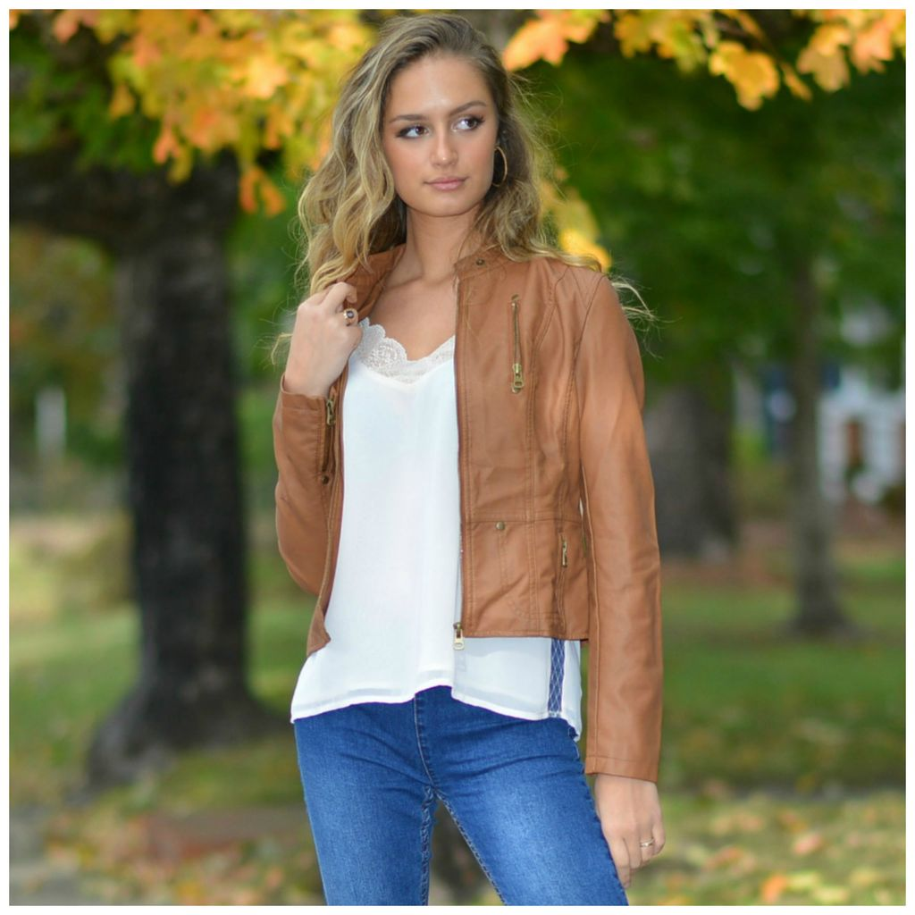 Outerwear Camel Bomber Jacket