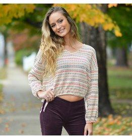 Tops 66 Fall Feels V Neck Stripe Sweater