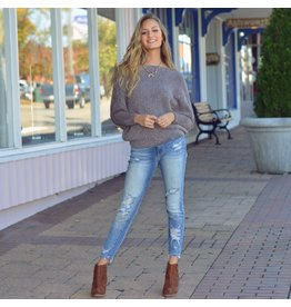 Tops 66 Fall Chill Grey Chenille Sweater