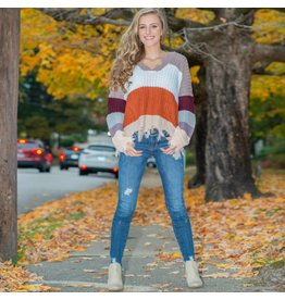 Tops 66 Color Me Fall Distressed Rust Combo Sweater