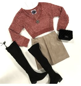 Tops 66 Fireside Rust Cropped Chenille Sweater