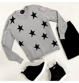 Tops 66 You're A Star Grey/Black Sweater