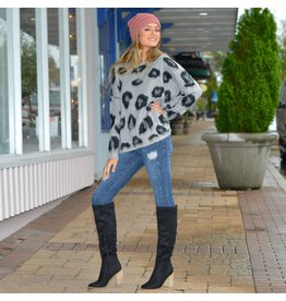 Tops 66 Leopard Love Grey Sweater
