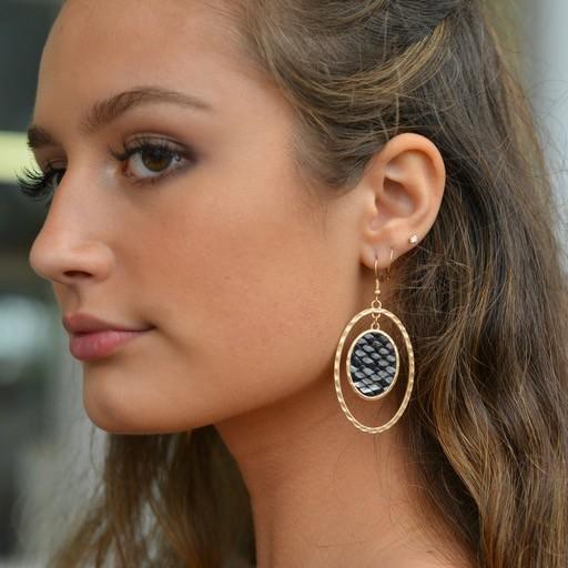Jewelry 34 Snake Skin Oval Earrings