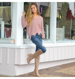 Tops 66 Fun & Frayed Mauve Sweater