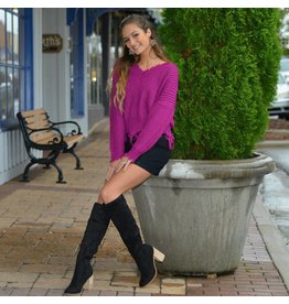 Tops 66 Fun & Frayed Magenta Sweater
