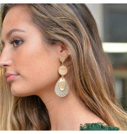 Jewelry 34 Leather Teardrop & Acrylic Disc Earrings