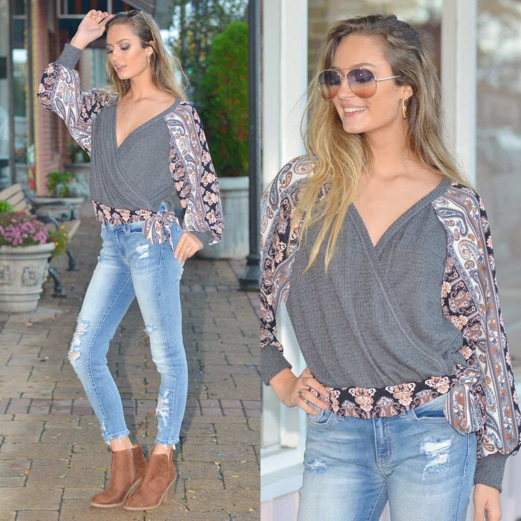 Tops 66 Limitless Fall Waffle & Printed Top