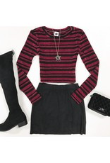 Tops 66 Set You Free Stripe Burgundy/Black Sweater