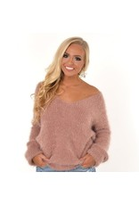 Tops 66 Fall Fuzzy Twisted Open Back Sweater