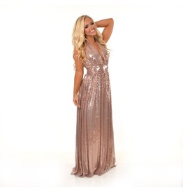 Dresses 22 Sparkle and Shine Rose Gold Maxi Dress