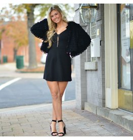 Outerwear Party Perfect Little Fuzzy Black Coat
