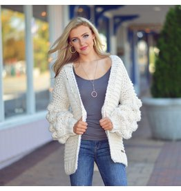 Tops 66 Casual Cuddles Knotted Ivory Cardigan