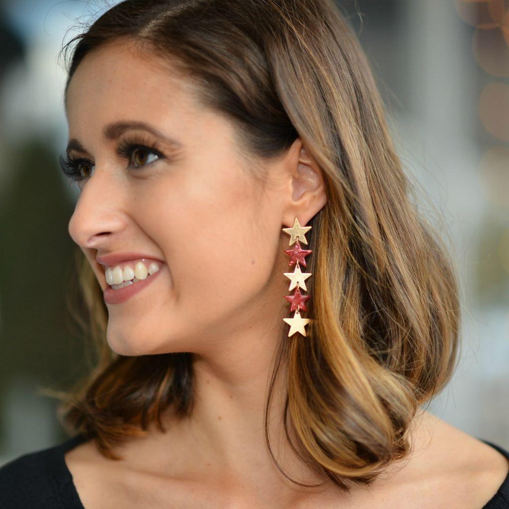 Jewelry 34 Acrylic Star Linear Earrings