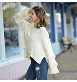 Tops 66 Fun & Fringy Ivory Holiday Sweater