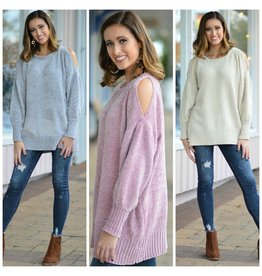 Tops 66 Cold Shoulder Chenille Sweater