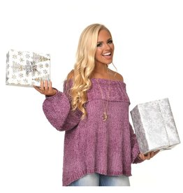 Tops 66 Off Shoulder Chenille Sugar Plum Sweater