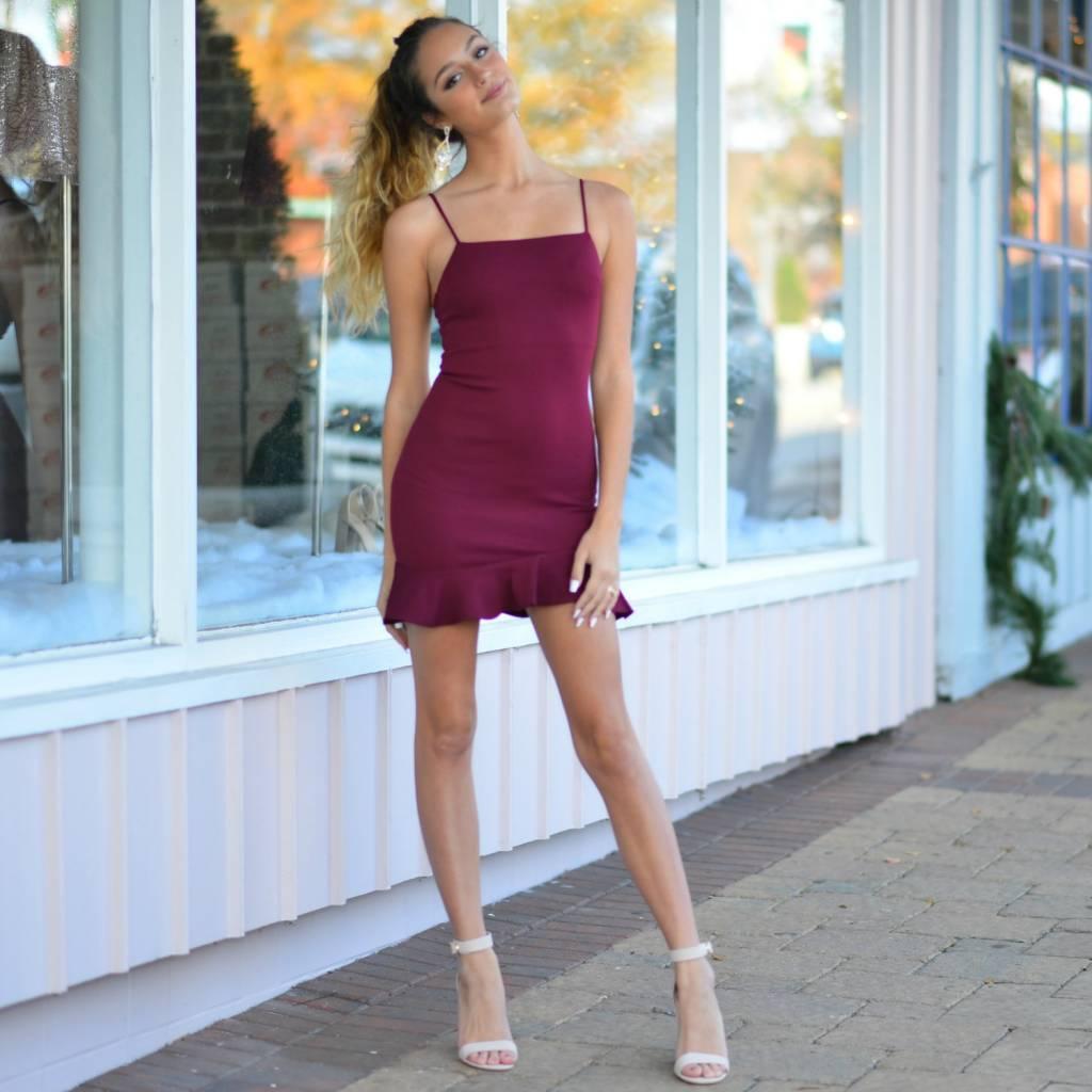 Dresses 22 Ruffle Around Burgundy Dress