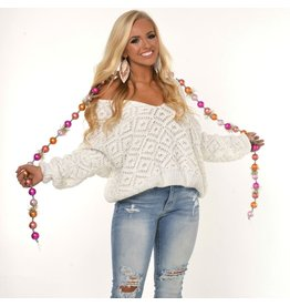 Tops 66 Winter Wonderland White Chenille Sweater
