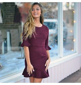 Dresses 22 Home For The Holidays Burgundy Ruffle Dressd