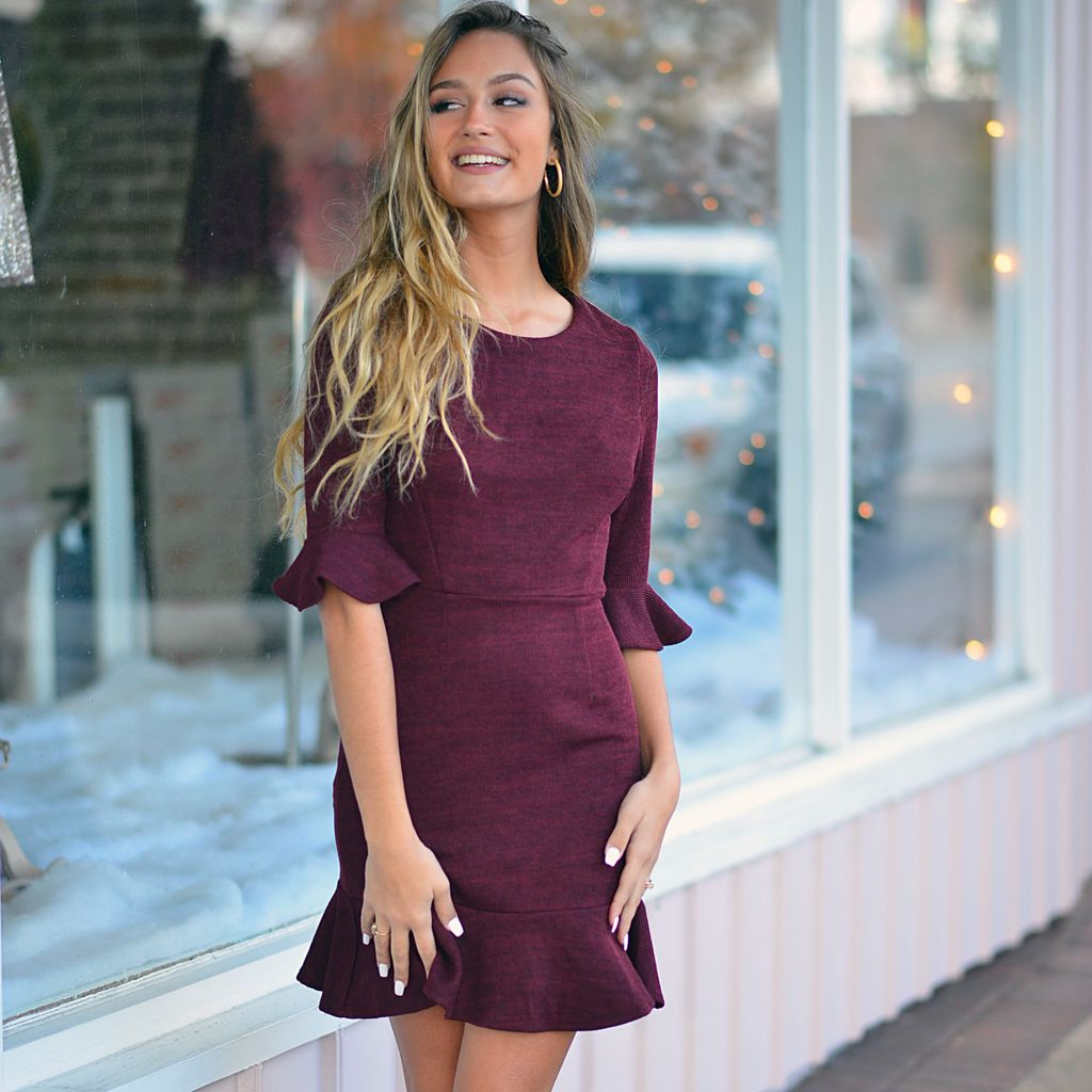 Dresses 22 Home For The Holidays Burgundy Ruffle Dressd