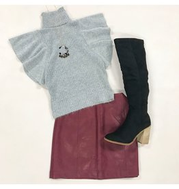 Tops 66 Winter Wonderland Fuzzy Grey Tencel Sweater