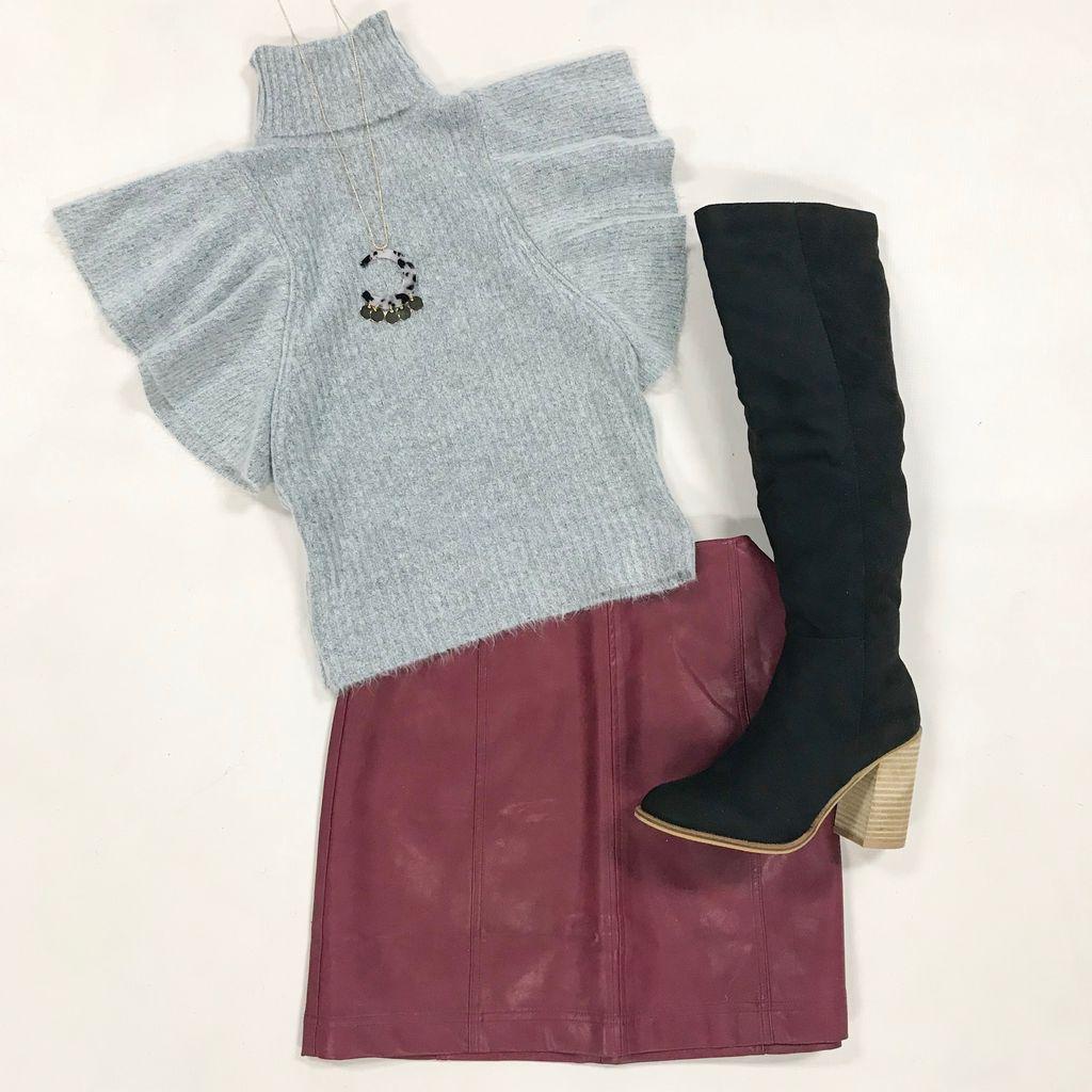 Tops 66 Winter Wonderland Fuzzy Grey Tencel Sweater