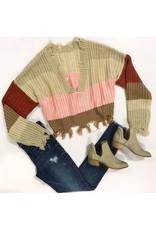 Tops 66 Weekend Warrior Stripe Distressed Beige Sweater