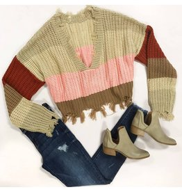 Tops 66 Weekend Warrior Stripe Distressed Beige Sweater