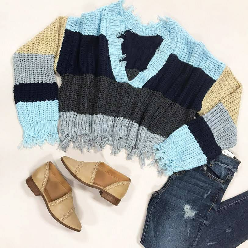 Tops 66 Weekend Warrior Blue Stripe and Distressed Sweater