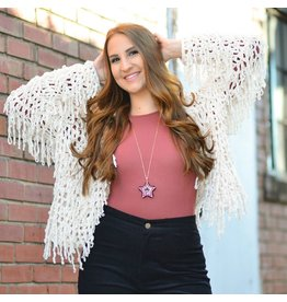 Tops 66 Fun & Fringy Winter Chenille Cardigan