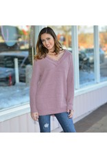 Tops 66 Lacy Chenille Mauve Winter Sweater