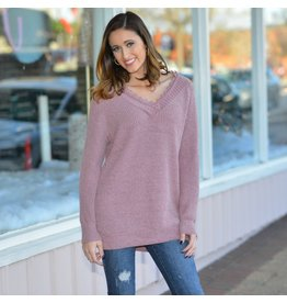 Tops 66 Lacy Chenille Mauve Winter Sweater