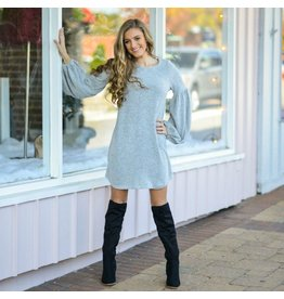 Dresses 22 Winter Wonder Balloon Sleeve Grey Sweater Dress