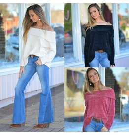 Tops 66 Winter Chenille Off Shoulder Sweater