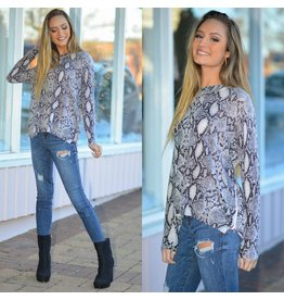 Tops 66 Snake Print Winter Grey Sweater