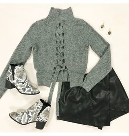 Tops 66 Lace Up Grey Winter Sweater