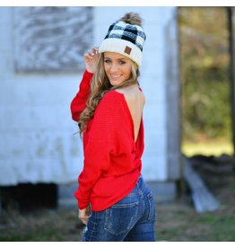 Tops 66 Holiday Fun Red Twist Back Reversible Sweater