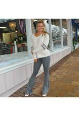 Tops 66 V Neck Fleece Stripe Beige Pullover