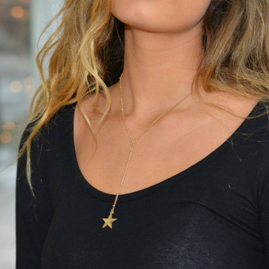 Jewelry 34 Scratched Star Y-Drop Choker